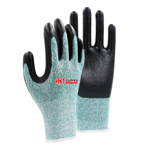best quality nitrile coated green cut resistance level 5 safety working glove