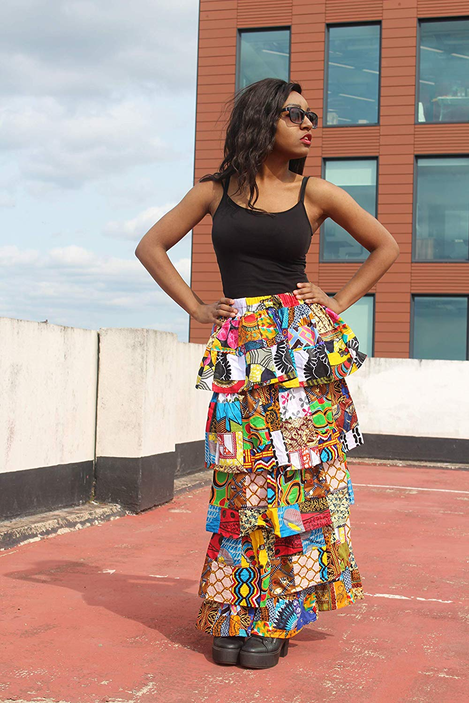 53a23b1930 Patchwork Skirt African Skirt Ankara Skirt Rah Rah Skirt Ethical Clothing  Bohemian Clothing Ethnic Skirt Layered