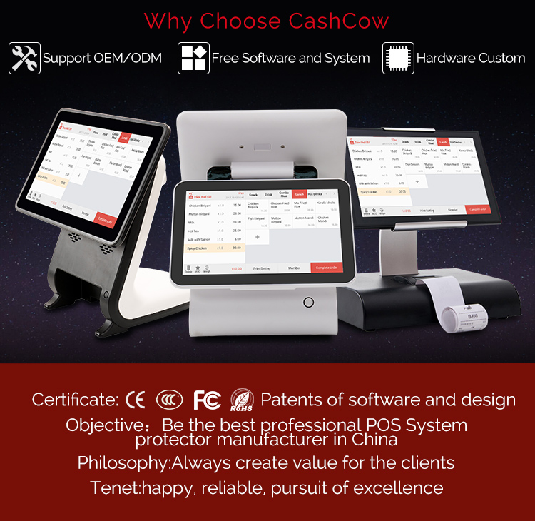 Hardware custom all in one touch screen restaurant ordering system for supermarket
