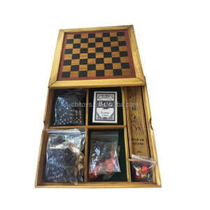 wooden toys 6 in 1 game set includes chess, checkers, backgammon, domino, poker,mikado board game set