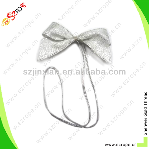 4mm silvery ribbon bow with metallic elastic loop/elastic hair bands