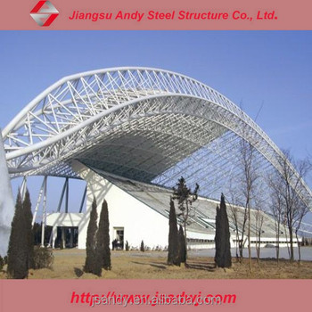 large span steel space truss roof for outdoor stadium