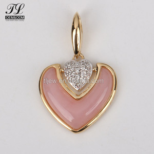 Wholesale Fashion 9k 10k 14k 18k gold rose pink agate spain charm+zircon jewellery set