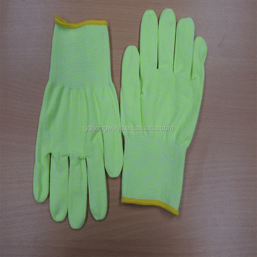 Fluorescent Yellow Cut And Impact Resistant Hand Gloves Food Grade Cut Level 5 Protection Gloves For Kitchen Work