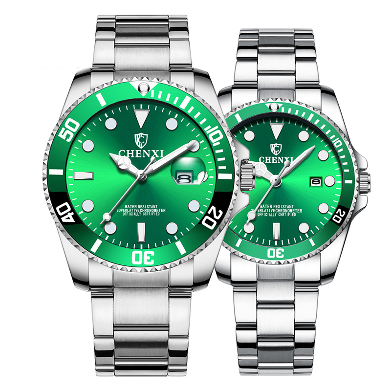 Alibaba.com / CHENXI Luxury Couple Watches Women Men Lover's Watch Waterproof Stainless Steel Quartz Dress Business Men Clock Rhinestone