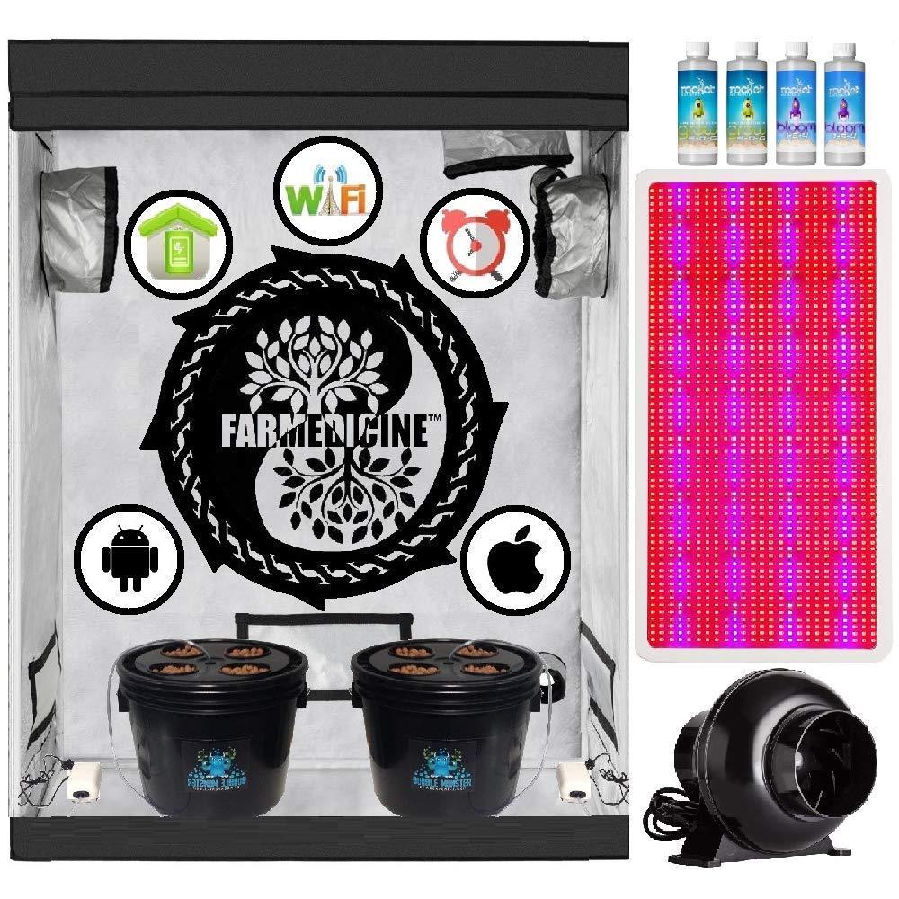 "Farmedicine Wireless 24"" × 48"" × 70"" Ventilated 3000 Watt 8-Site Smart Hydroponic Grow Kit System"