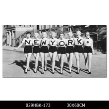 Print Black and White Wall Art Ladies wearing New York T-Shirt Picture for Wall Decoration Print Funny Design Modern Art Poster