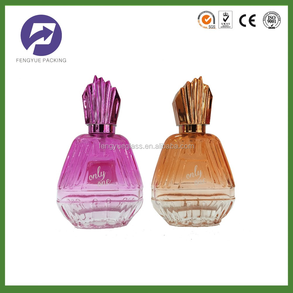 Decorative design glass perfume bottle with Alumnimum pump and tower hat Zhangjiagang