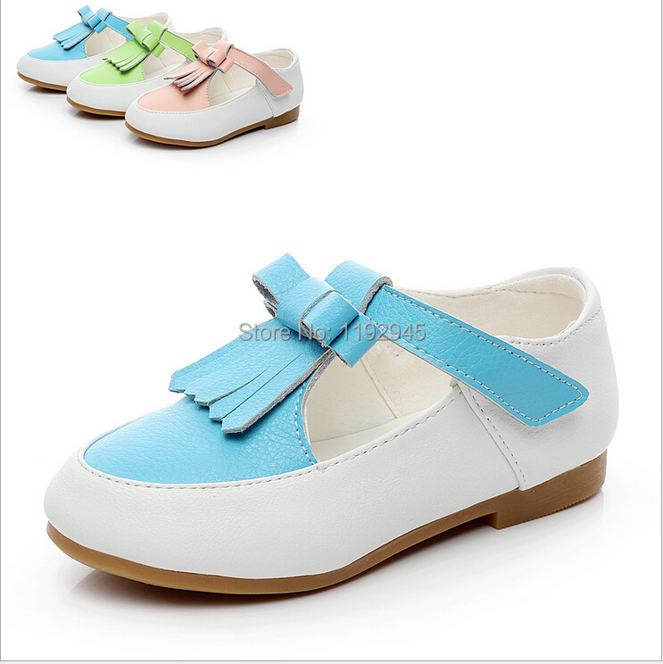 2015 Fall new Korean children's shoes, genuine leather girls princess shoes , girls bow performances shoes, free shipping