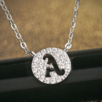 Initial Necklace Best Friend 925 Silver Letter Charm Necklaces