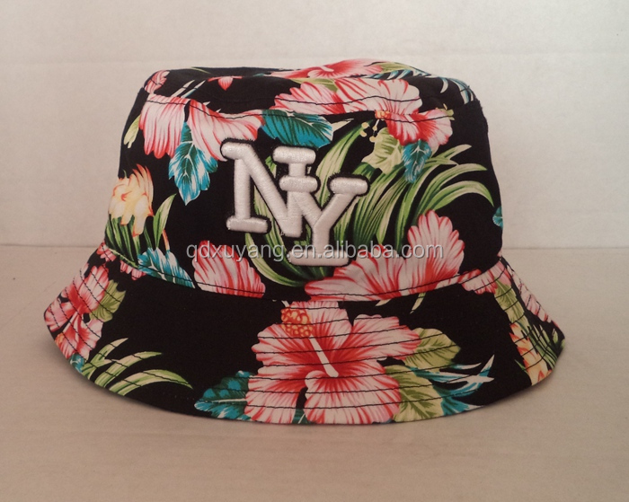 the fashion bucket hat has embroidery NY logo and used floral fabric