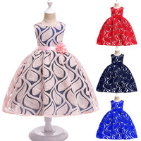 2019 Spring and summer children's beautiful baby girl lace princess sleeveless waist flowers dress tutu