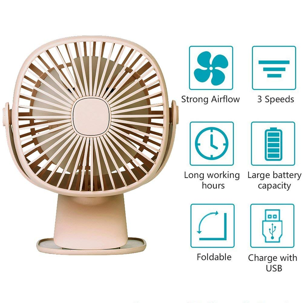 USB Table Fan Clip on & Desk Personal Fan, LED Lamp Function, 360 Degree Rotation, 3 Speeds Adjustable, Rechargeable Battery Electric Fan for Car, Stroller, Office, Bedroom, Traveling, Fishing - Pink