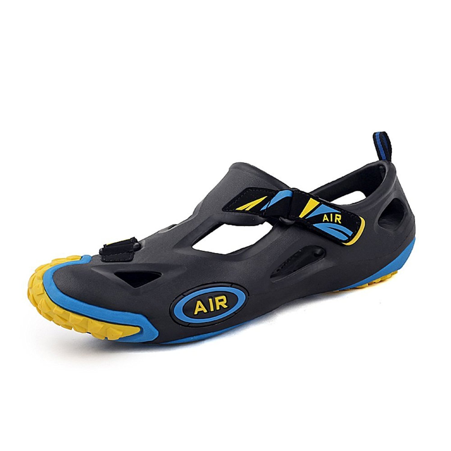 f3f00889d7f7 Get Quotations · Mens Closed Toe Beach Water Shoes Side Velcro EVA Garden  Hole Jelly Clogs Sandals