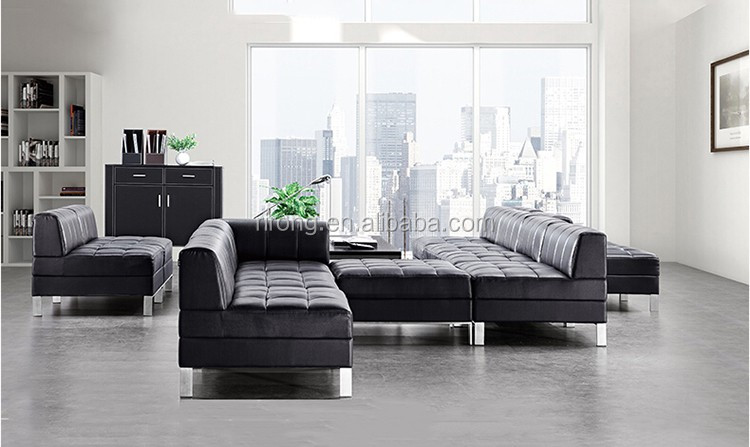 2017 new design modern living room furniture black leather for 7 seater living room