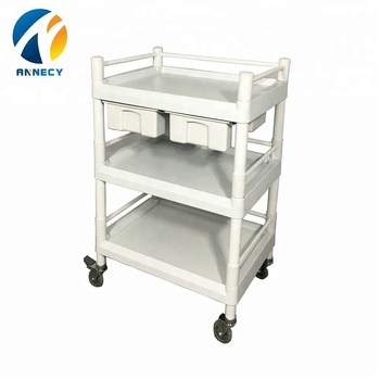 AC-UT017 hot sale medical equipment plastic four wheel trolley cart for sale