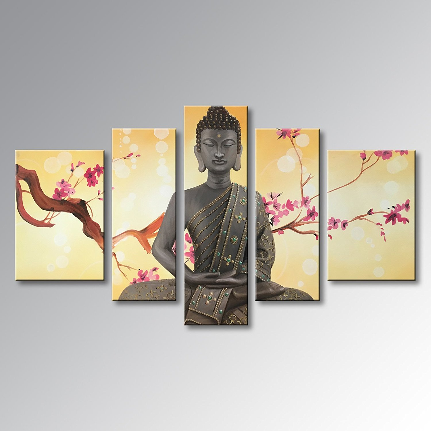 """Winpeak Pure Handmade Framed Canvas Art Buddha Oil Paintings on Canvas 5 paenl Wall Decor Contemporary Artwork Stretched Ready to Hang (58""""W x 32""""H (14""""x24"""" x2, 10""""x28"""" x2, 10""""x32"""" x1))"""