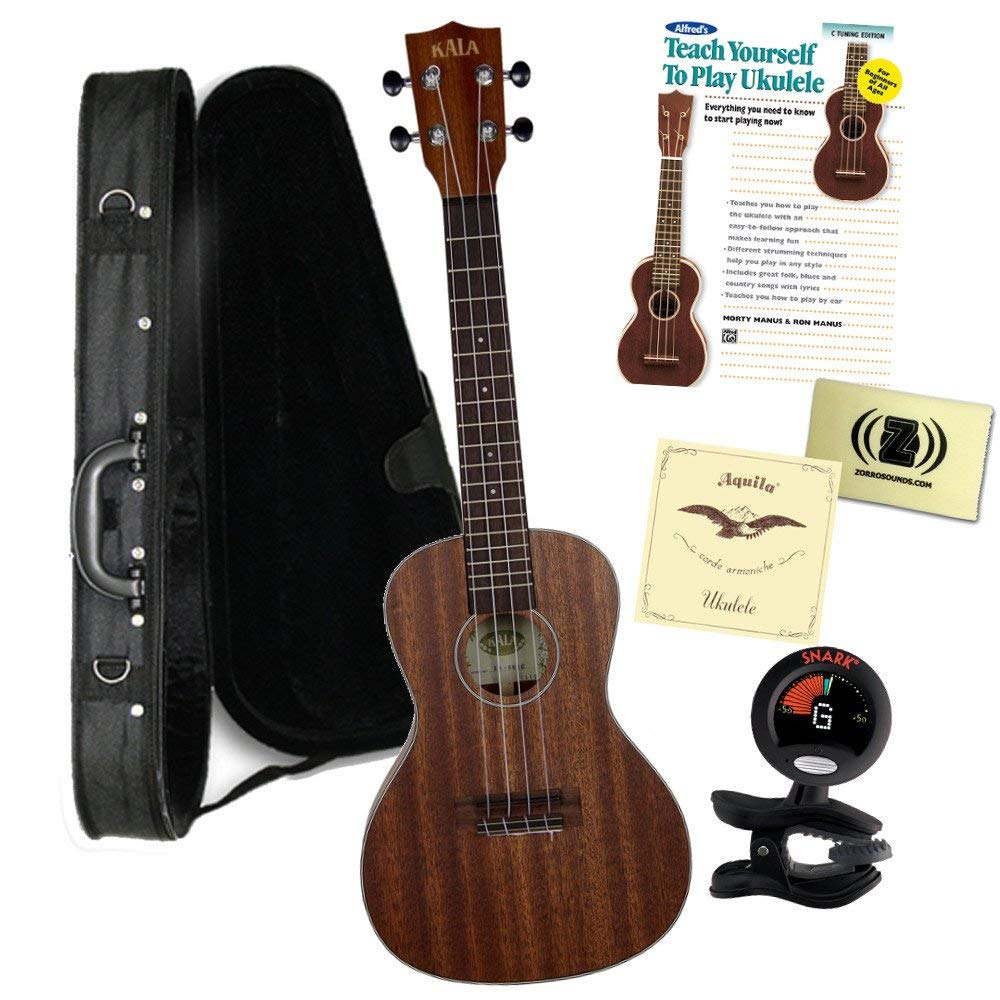 """""""Kala KA-SMHCK2 CONCERT SATIN/ALL SOLID MAHOGANY Ukulele Bundle with Polyfoam Case, Tuner, Alfred's Teach Yourself to Play Ukulele C-Tuning Edition with DVD, and Polishing Cloth"""""""