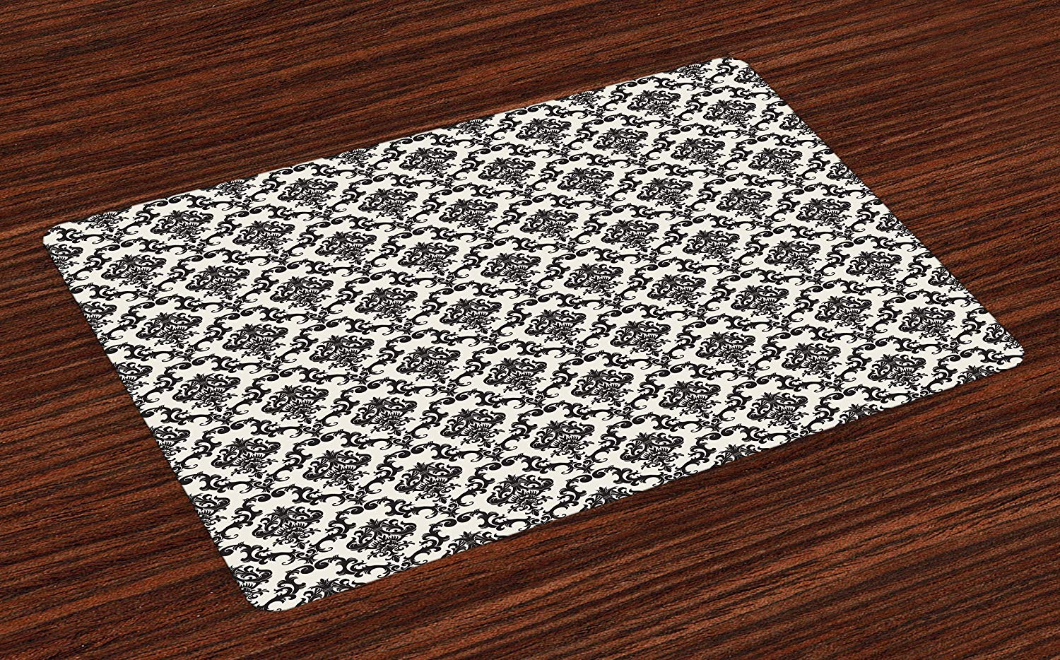 Ambesonne Damask Place Mats Set of 4, Contemporary Western Damask Motif with Weave Effect Floral Leaves Graphic Design, Washable Fabric Placemats for Dining Room Kitchen Table Decor, Beige Black