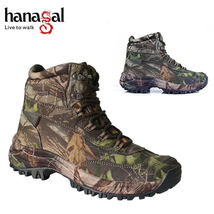 2017 Hot sell rubber outsole waterproof camouflage mens hunting boots hanagal