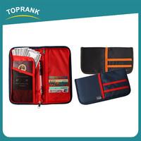 Toprank Multifunction Polyester Card Passport Holder Wallet Ticket Document Holder Rfid Blocking Travel Wallet With Zip Around
