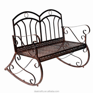 Genial 2 Seater Metal Garden Bench Outdoor Rocking Chair With Decorative Backrest  In A Shabby Chic Finish White