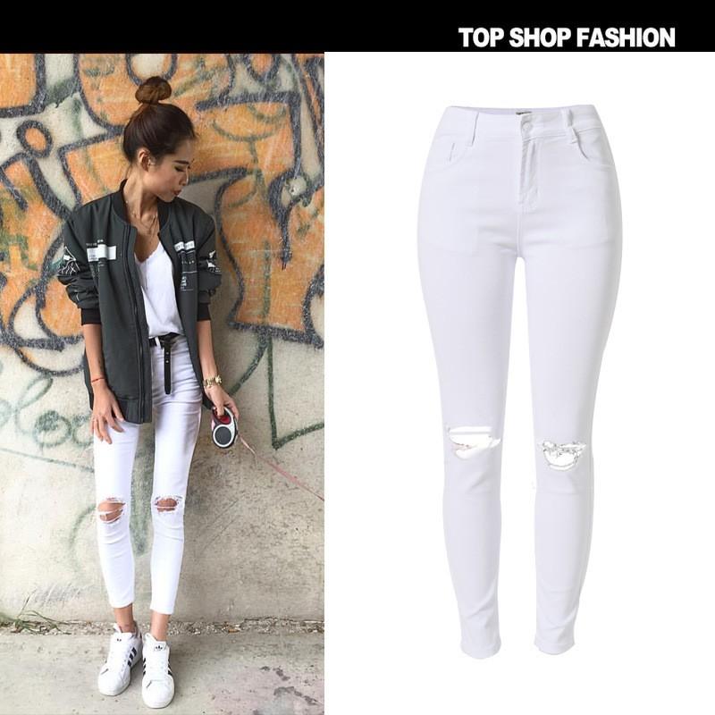 b2f7230b314c2 Barato blanco Jean ripped rodilla agujero mujer 100% algodón pantalones  Super stretch Womens ripped skinny