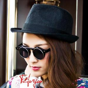 CC8008 Unisex Classic Vintage Circle Round Sunglasses Flip Up Steampunk Glasses Double Layers Shades