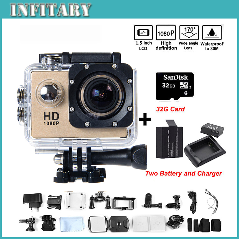 2 xBattery + Монопод SJ4000 wi-fi hd действий камеры 1080 P Full HD DVR 30 М Водонепроницаемая камера шлема