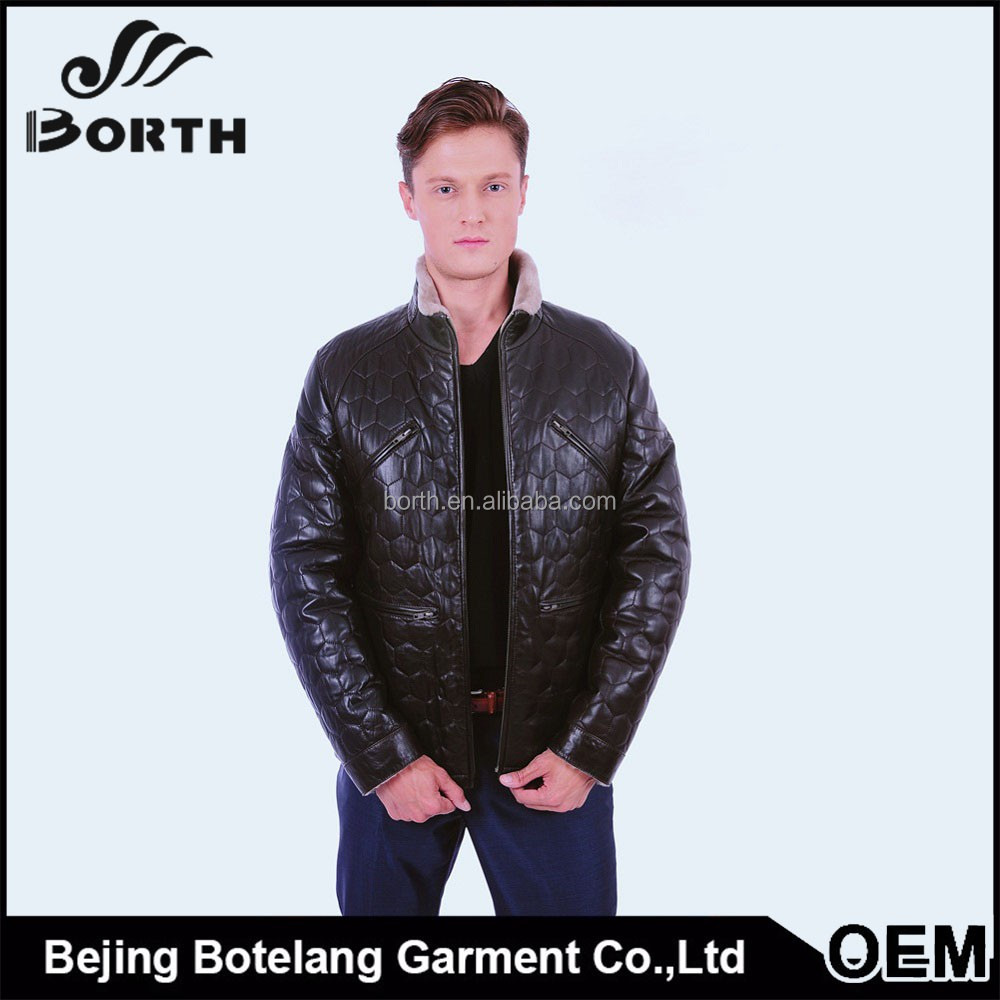 Men's brown Leahter Shell sheep shearling lining Jacket warm and fashion winter jacket coat for OEM orders