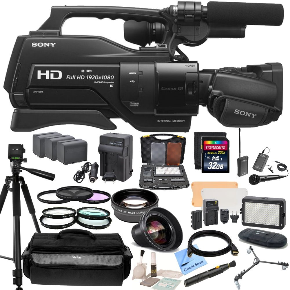 """Sony HXR-MC2500 Shoulder Mount AVCHD Camcorder With CS Reality TV Kit: Includes Wireless Lapel & Handheld Twin Microphone System, 72"""" Professional Tripod With Tripod Dolly, Weather Proof Case, HD Wide Angle Lens, Telephoto HD Lens, 3 Piece Filter Kit (UV,CPL,FLD) 4 Piece Macro Close Up Set"""