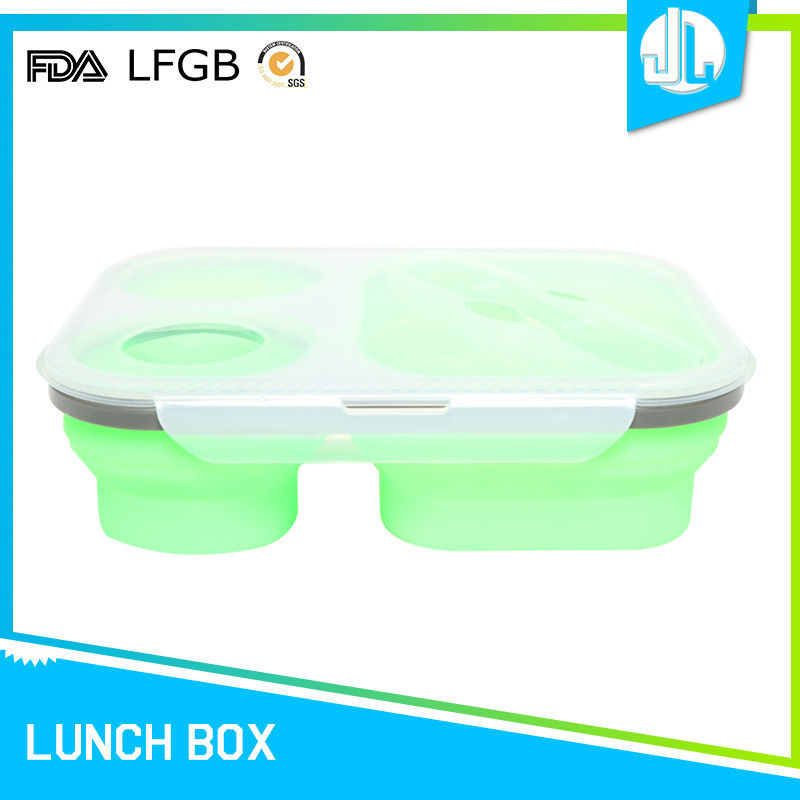 High quality 3-compartment design silicone school food container tiffin