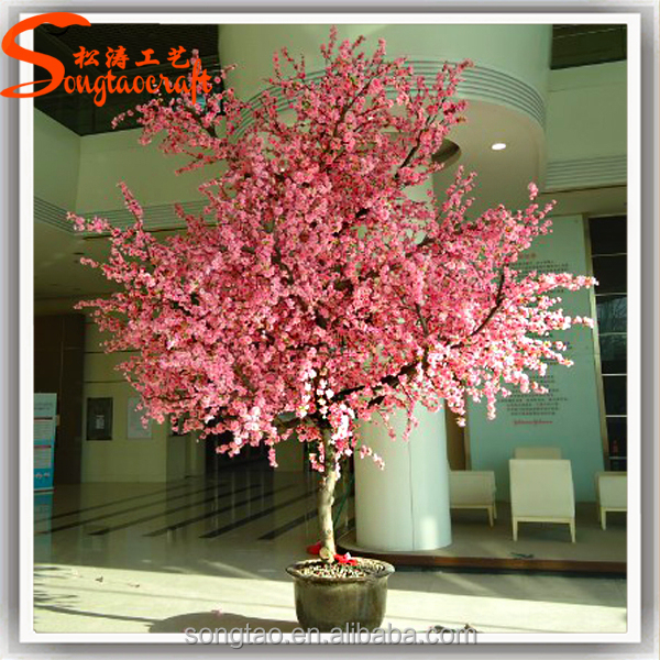Artificial Pink Anese Flower Cherry Blossom Fabric Bonsai Tree For Decoration