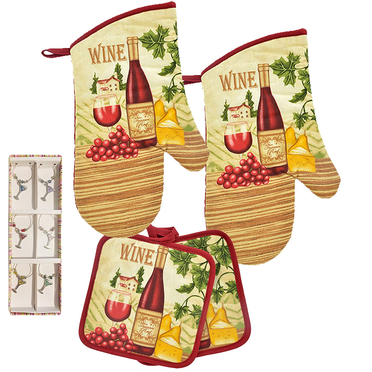 Dublin's Treasure Isle Kitchen Oven Mitt Pot Holder Set Kitchen Linens Oven Mitt Pot Holder Pack with Wine Charms (Tuscan Red)