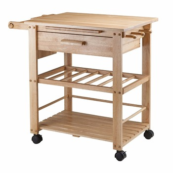Utility Kitchen Cart/microwave Stand,White Base With Natural Top - Buy  Kitchen Chairs Product on Alibaba.com