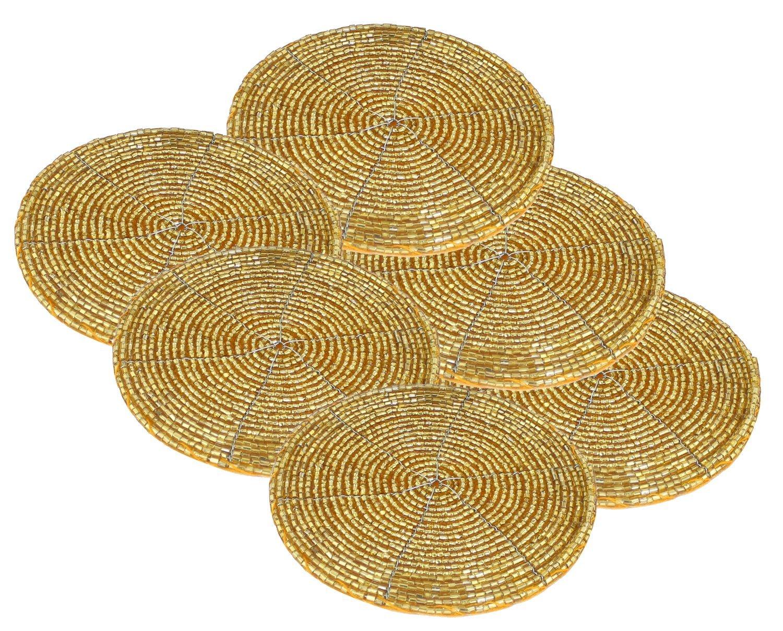 Set of 6 - Handmade Glass Beaded Coaster Golden - Coaster Gift Set - Dia 4 Inches