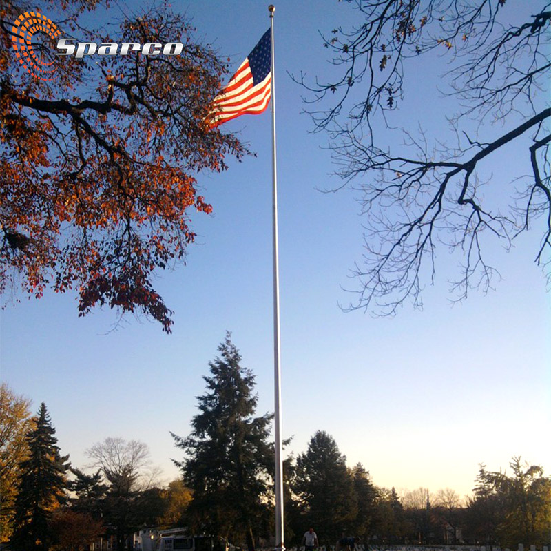 manual 12mtr 40 foot aluminum flag post with American flag