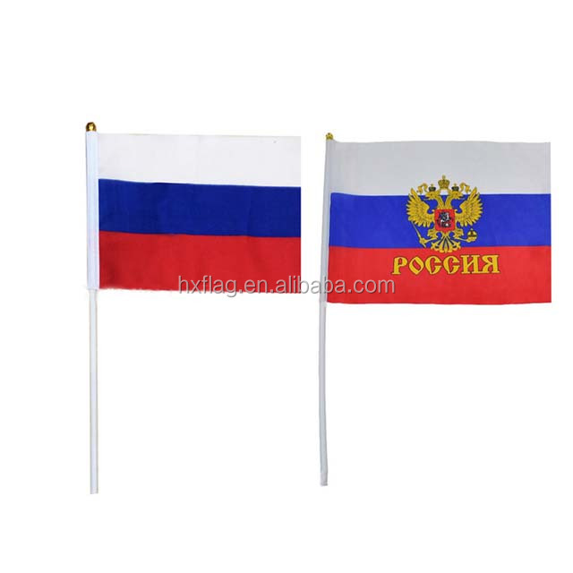 Top Quality Russia Hand Flag Logo Printed Promotion Hand Held Flag