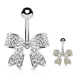 Bow Belly Bar 14G Stainless Steel Navel Piercing Body Jewelry