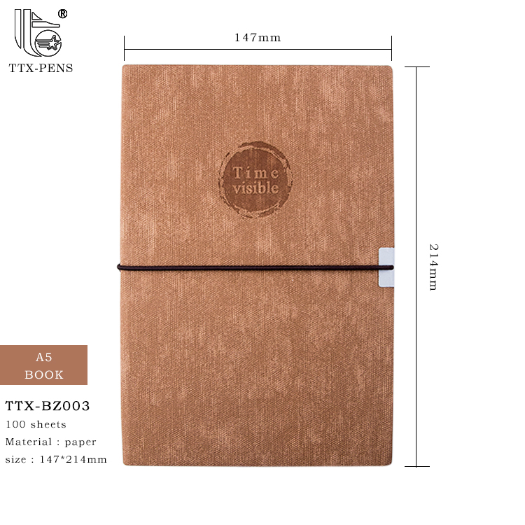 2018 Elastic Band Agenda PU Leather 양장본 Custom A5 노트북