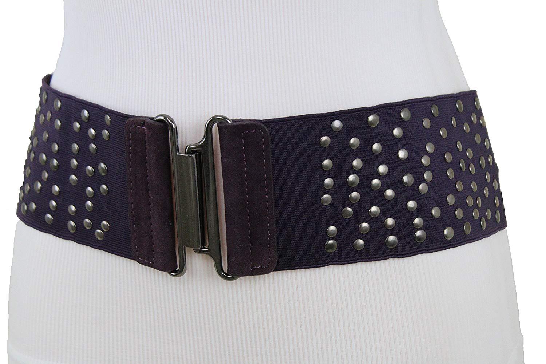 538212e2b Get Quotations · TFJ Women Elastic Fashion Belt Hip High Waist Elastic Band  Metal Studs M L Eggplant Purple