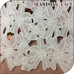 German Embroidered Wedding White Cord Irish Lace Fabric