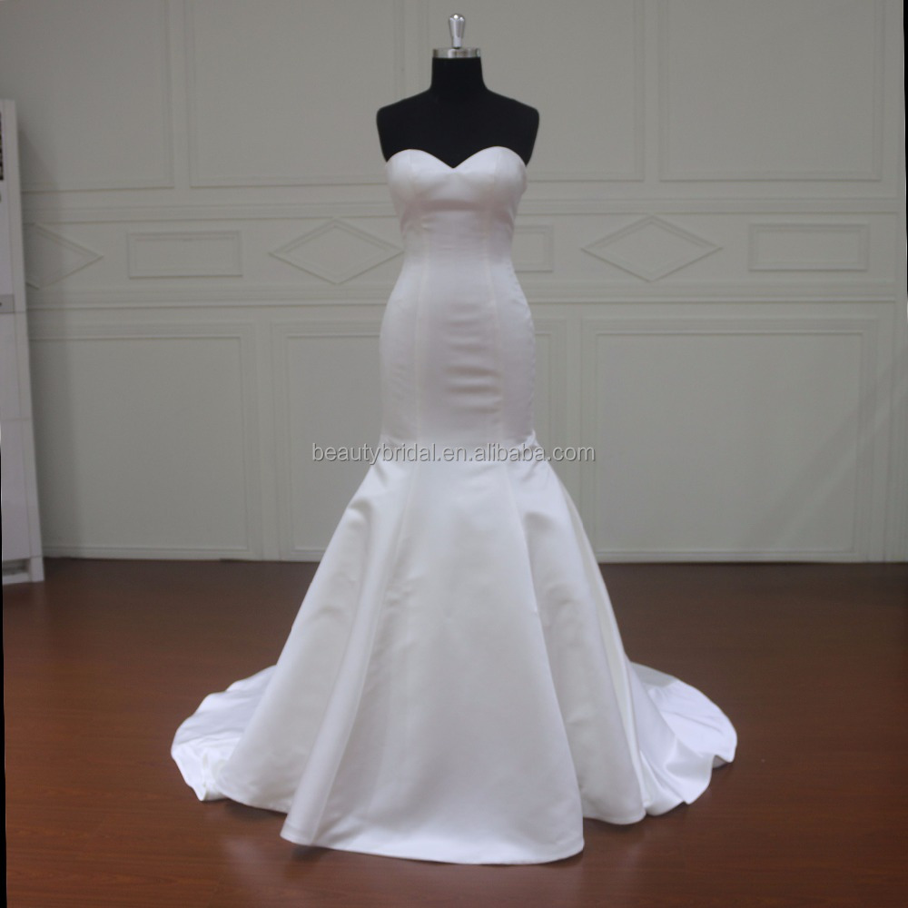 MM033 simple satin bridal mermaid julie vino wedding dresses