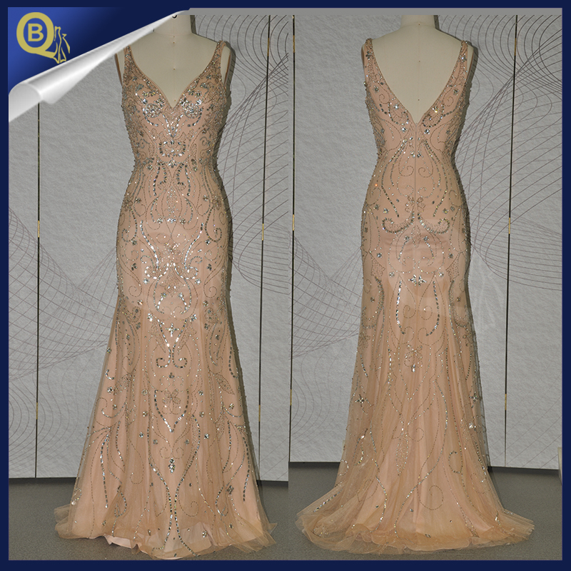 2016 Wholesale Sleeveless Heavy Gold Sequin Beaded Long Evening Dress