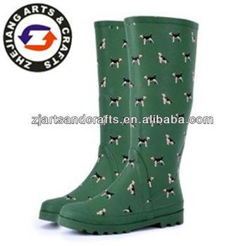 Kniehöhe Mit Buy Grün Stiefel Drucken Product damen Für billige Hund Gummi Damen Stiefel Regen Stiefel Garten ALc3Rq45jS