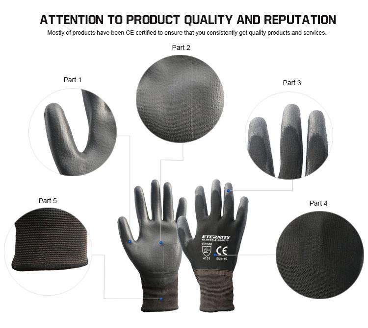 Xây dựng Bảo Vệ Hot Bán Bảo Vệ Durable 13G Polyester Đen Polyurethane Cọ Lớp Phủ Làm Việc Găng Tay