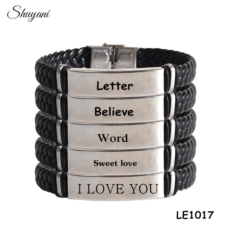 b0cbc28c2514 Cuero trenzado DIY engravable nombre palabras brazalete pulsera hecha a  mano al por mayor