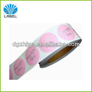 Round adhesive price tag label stickers Silver foil stamping labels for full color printing for price tag