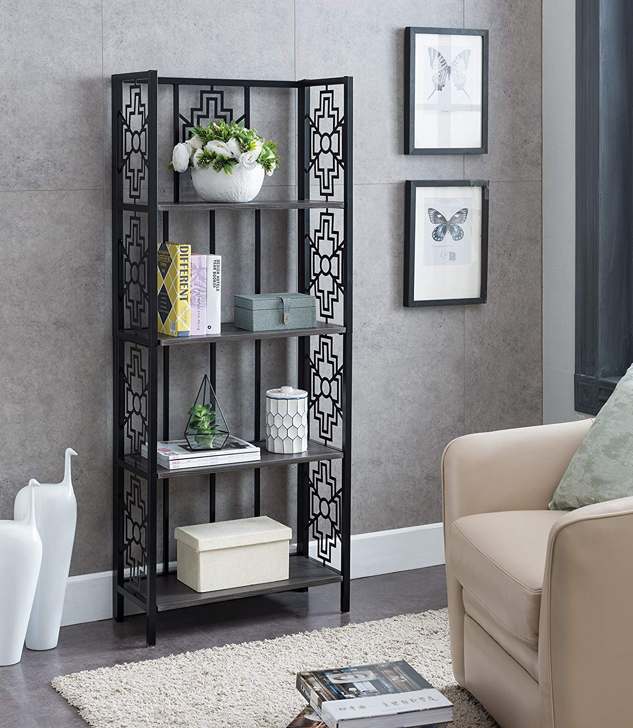 None Grey Finish Black Metal Wall 4-Tier Bookshelf Bookcase Display Cabinet