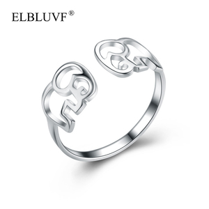 ELBLUVF 925 Sterling Silver Elephant Style Plain Ring Adjustable Size For Men Women